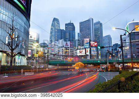 Tokyo, Kanto Region, Honshu, Japan - April 16, 2010: Cityscape Of Buildings And Billboards At Shinju