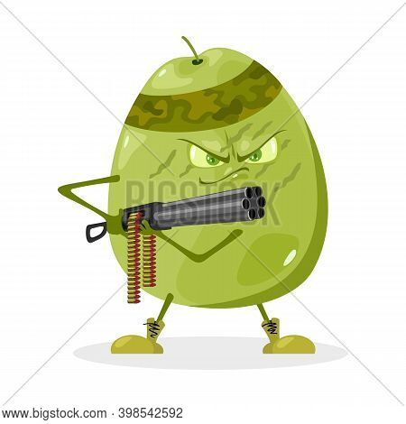 Superhero Fruit With Gun And Bandage. Vector Exotic Fruit, Tropical Plant, Vegetarian Food, Organic