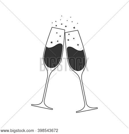 Clink Glasses Champagne Graphic Icon. Cheers With Two Champagne Glasses Sign Isolated On White Backg