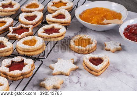 Tasty Homemade Christmas Cookies. Traditional Austrian Christmas Cookies - Linzer Biscuits Filled Wi