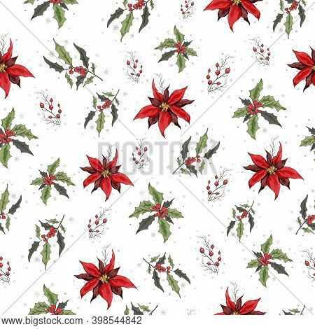 Seamless Vector Pattrn With A Pattern Of Holly Branches, Poinsettia. The Hand-drawn Sketch Is Made I