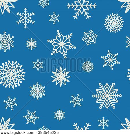 Seamless Pattern Hand Drawn White Snow Flakes On Blue, Simple Winter Background. Design For Holiday