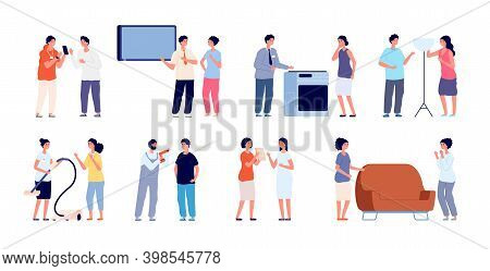 Seller Characters. Woman Shop, Retail Sellers With Customers. Friendly Retail Market, Promoters Adve