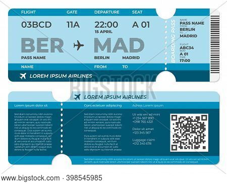 Realistic Boarding Pass. Airplane Ticket Template, Flight Blank Invitation Front And Back View. Isol