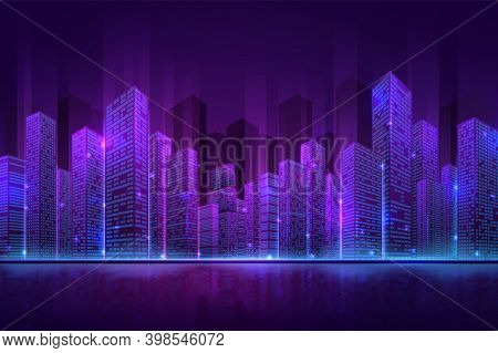 Futuristic City Building. High Neon Cityscape, Abstract Night Downtown Panorama. Digital Smart Town,