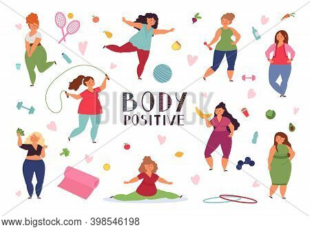 Body Positive Concept. Fat Woman, Plus Size Models Yoga Training. Positivity Healthy Overweight Pers