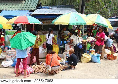 El Nido, Philippines - December 2, 2017: Customers Visit A Local Food Market Place In El Nido, Phili