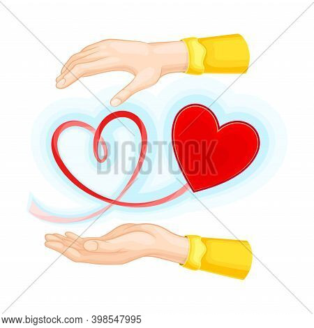 Outstretched Arm And Red Heart Shape As Love And Fondness Symbol Vector Illustration