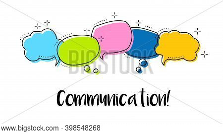 Bright Color Dialog Speech Bubbles With Icons And Text Comunication.
