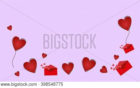 Bright Red Hearts And Letters On A Lilac Background.