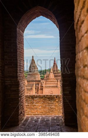 Ancient temple in Bagan, Myanmar. Bagan is an ancient city in central Myanmar (formerly Burma), southwest of Mandalay.