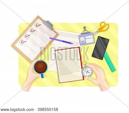 Human Hands Working With Document At Desk Arranging Time Management With Notepad And Lipboard With C