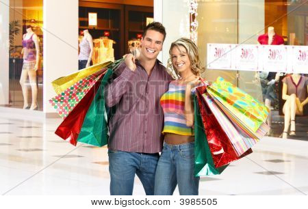 Shopping Smiling Couple