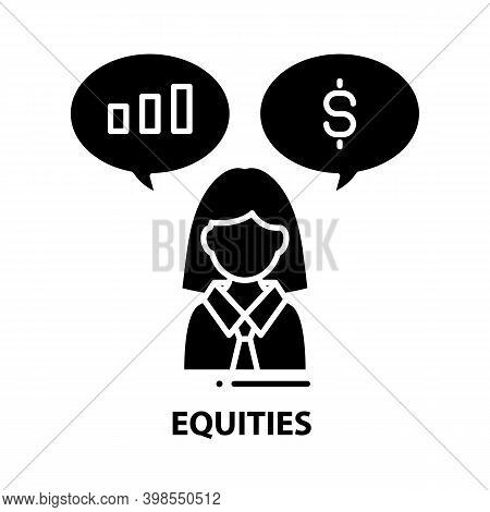 Equities Icon, Black Vector Sign With Editable Strokes, Concept Illustration