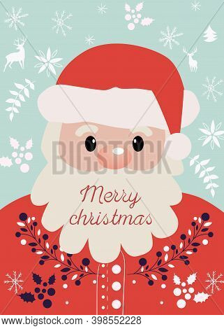 Composition Of Santa Claus With Merry Christmas Wrote On His Beard. New Year Themed Decorations, Twi
