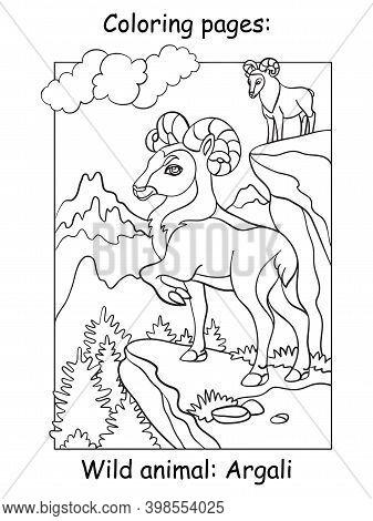 Children Coloring Book Page Argali Vector Illustration