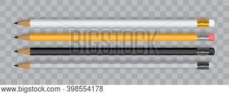 White, Orange And Black Pencils Isolated On Dark Background Mock Up Vector