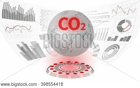 Co2 Air Pollution Planet Earth. Growing Graph Of Damage Climatic Problem. Ecology Environment Danger