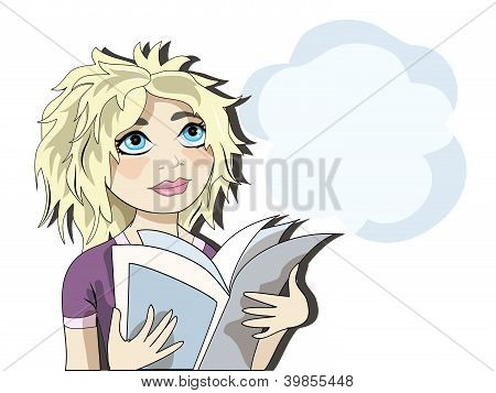 Blond girl reading