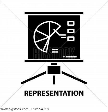 Representation Icon, Black Vector Sign With Editable Strokes, Concept Illustration