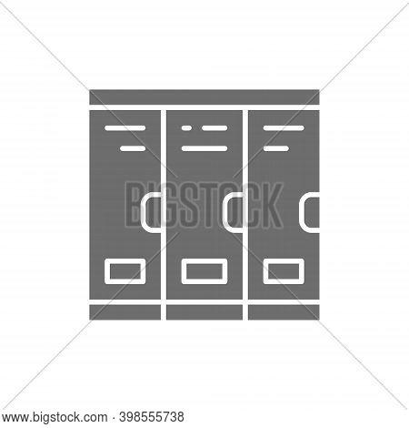 Cabinets, School Lockers, Locker Room Grey Icon.