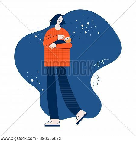 Mother And Baby Flat Vector Illustration With Cute Colorful Character