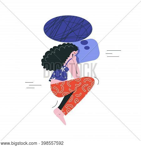 Bad Night Sleep Discomfort Insomnia Nightmire Disturbed Woman Awake In Stress Flat Vector Illustrati