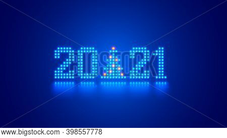 New Year Digits 2021 And Christmas Tree In Tech Style. 20 21 Consist Of Neon Dots Or Pixels On Blue