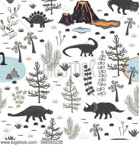 Vector Seamless Pattern With Cute Different Dinosaurs, Plants And Volcano. Cartoon Landscape Of Jura