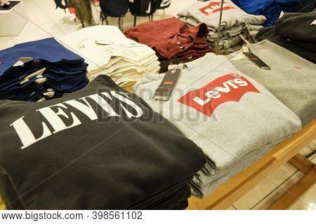 Levi Strauss Polo T-shirts At Store Counter. Mersin, Turkey - November 2020