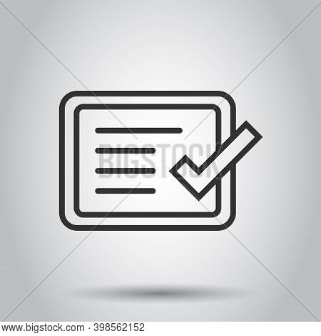 Approve Certificate Icon In Flat Style. Document Check Mark Vector Illustration On White Isolated Ba