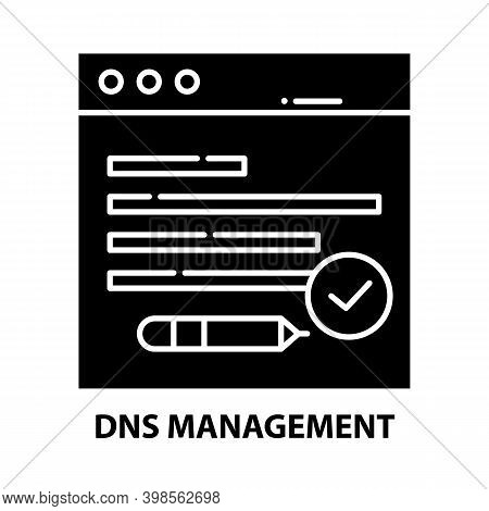 Dns Management Icon, Black Vector Sign With Editable Strokes, Concept Illustration