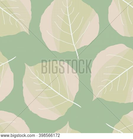 Aspen Leaf Seamless Vector Pattern Background. Beautiful Duotone Hand Drawn Leaves Light Green Off W