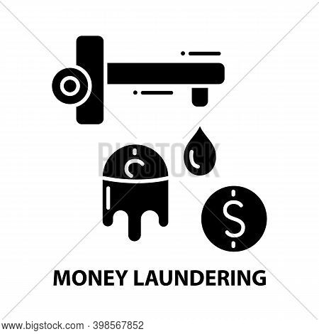 Money Laundering Symbol Icon, Black Vector Sign With Editable Strokes, Concept Illustration
