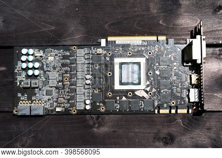 Video Card Board On Wooden Background.video Card Board On Wooden Background