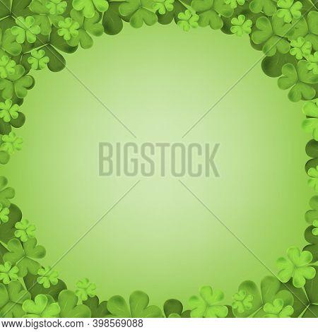 Irish Shamrock Falling Leaves Isolated On Green Background For Holiday Greeting Card Design, Irish S