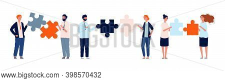 Teamwork Business Characters. Man Woman Holding Puzzle Pieces, Collaboration Vector Illustration. Te