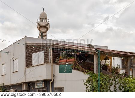 Nazareth, Israel, December 05, 2020 : The National Flag Of Adygea On The Wall Of A House In The Musl