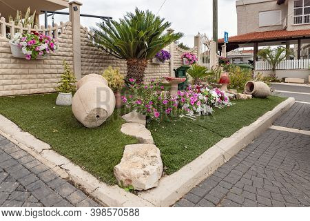 Nazareth, Israel, December 05, 2020 : Decoratively Decorated Street Flower Bed In The Muslim Circass