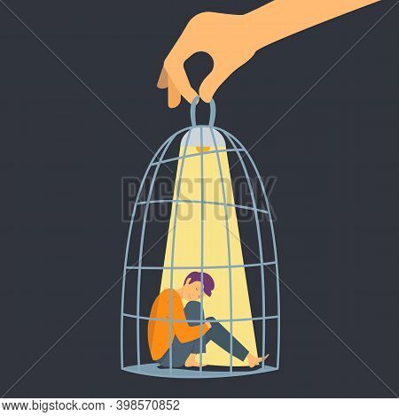 People In Cage. Depressed Man, Hand Holding Cell With Sad Boy And Lamp. Mental Disorder, Fear Or Vio