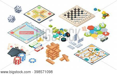 Board Games. Adults Funny Games Isometric Cards Backgammon Chess Mahjong Vector. Illustration Isomet