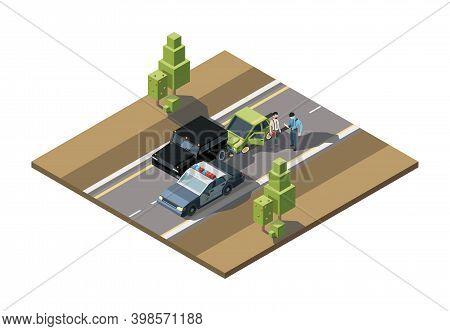 Road Accident Isometric. Car Damaged Emergency Help Traffic Accidents Injured Crash Vehicles Urban T