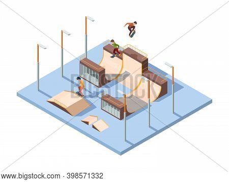 Skate Park. Young Teenagers Active Riders And Jumpers Extreme Sport Activities Skateboard Performanc