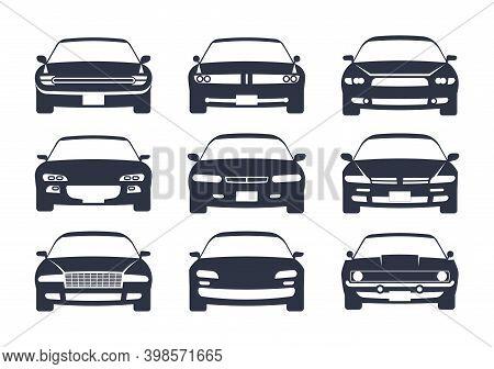 Car Black Silhouette. Cars Front View Icon Set, Vehicle Projection Monochrome Mockup, Regular Sedan