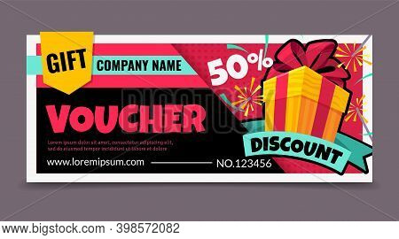 Gift Voucher. Promotion Birthday Certificate With Gift Box, Surprise Discount Ticket, Promo Shopping