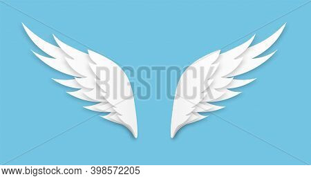 Origami Wings. White Paper Cut Angel Logo, Feathers Decoration Of Heaven Bird, Layered Papercut Ange