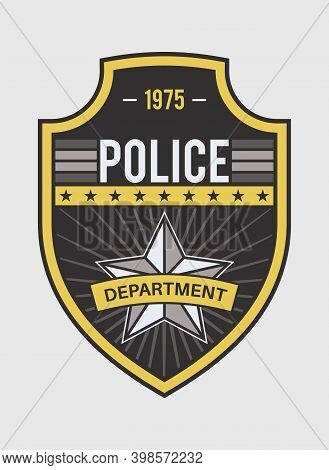 Police Medallion. Security And Federal Agent Back Identity Badge With Star Shape. Sheriff, Marshal A