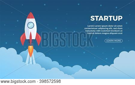 Project Launch. Business Startup Landing Page With Rocket Symbol, Starting Shuttle In Sky Banner, Fu