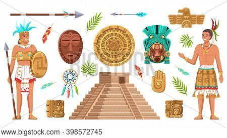 Maya Civilization Culture. Incas And Aztec Ancient Art, Ethnic Artifacts And Sign Collection, Indian