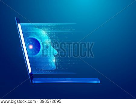 Concept Of Machine Learning Or Artificial Intelligence Technology, Graphic Of Computer Laptop With R
